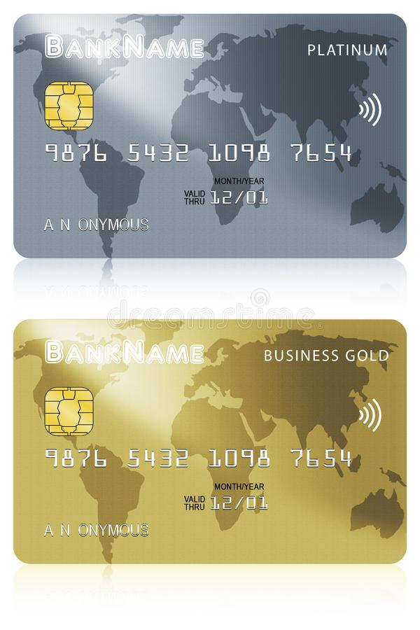 Two Debit or Credit Card Illustrations Isolated on White Background stock illustration