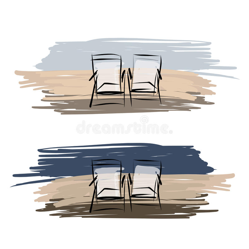 Two deck chairs on the beach, sketch for your vector illustration
