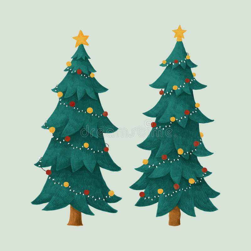 Two decorated Christmas trees illustration vector illustration
