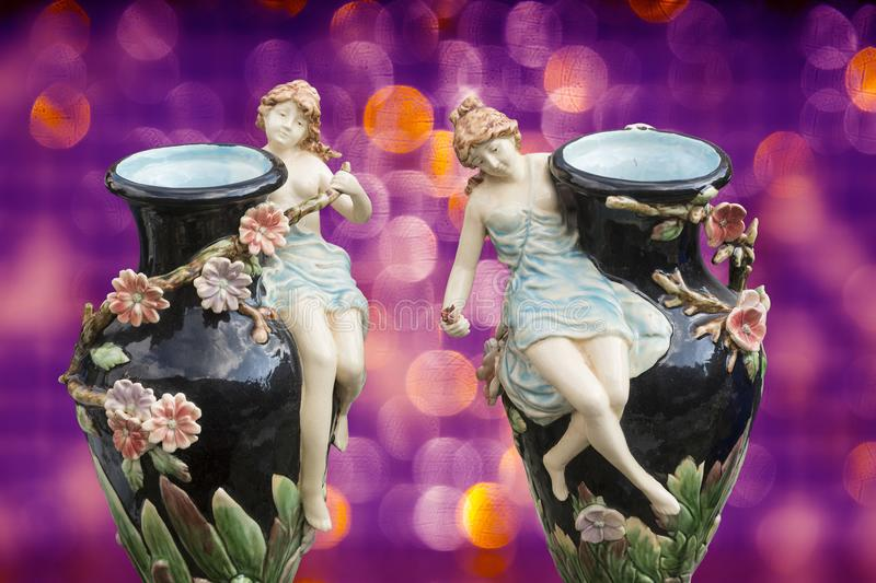 Two decorated porcelain vases royalty free illustration