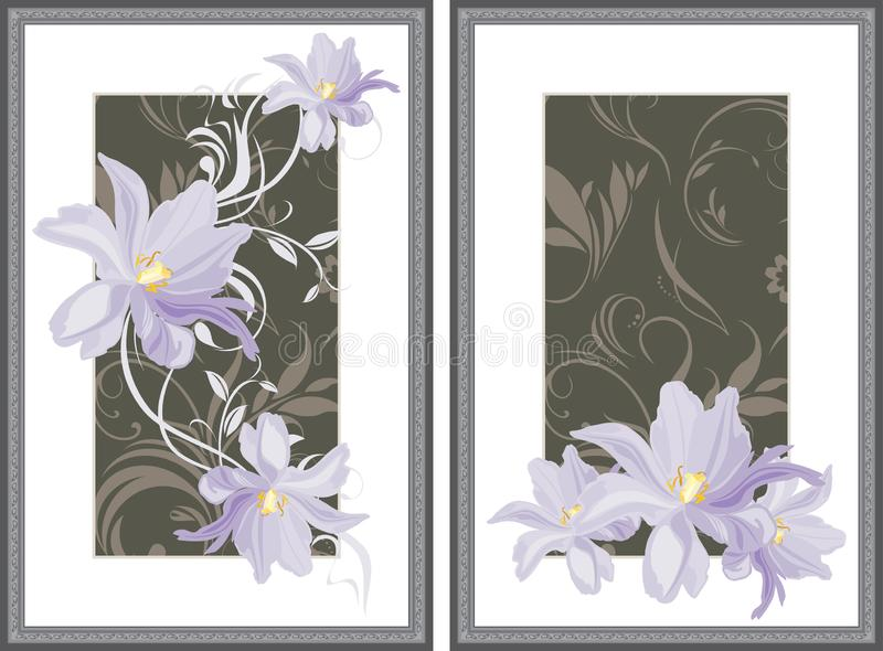 Two decorative frames with lilac tulips stock image