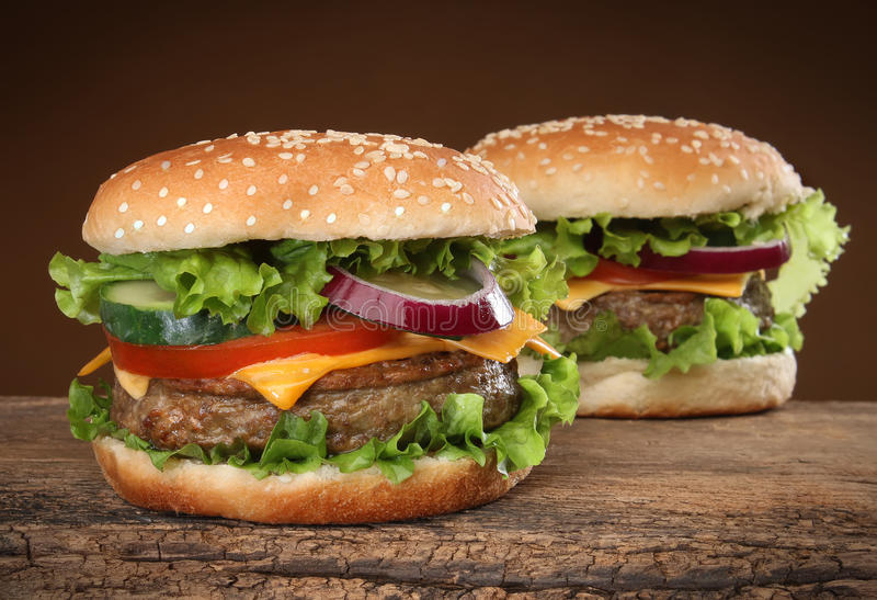 Two delicious hamburgers stock image
