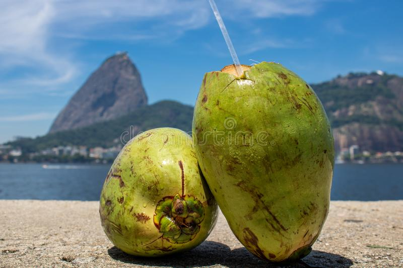 Beautiful panoramic view of the Sugar Loaf mountain in Rio de Janeiro, Brazil, on a beautiful and relaxing sunny day with blue sky stock photography