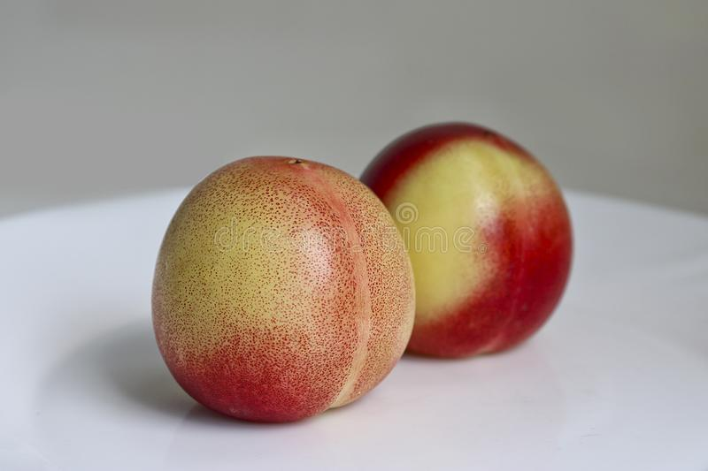 Two delicious ripe juicy nectarines on a white plate. Healthy fruits royalty free stock photos