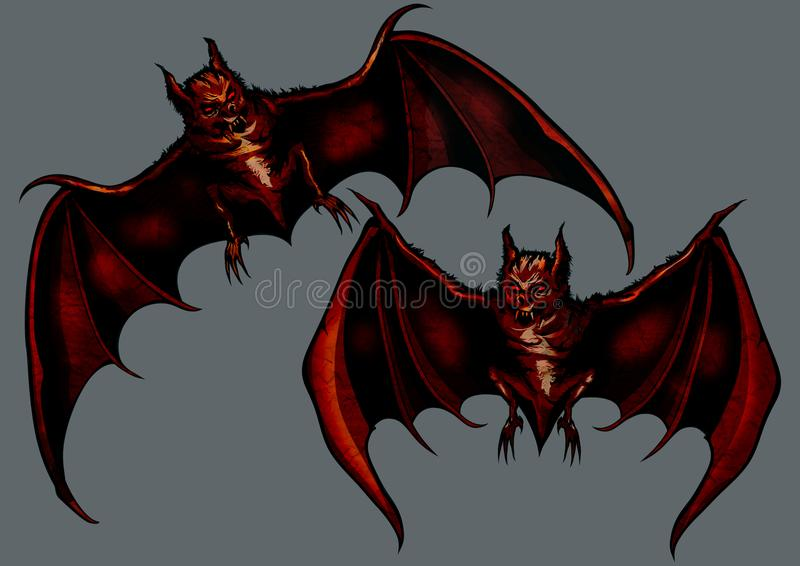 Two demonic bats. Illustration two eerie halloween bats vector illustration