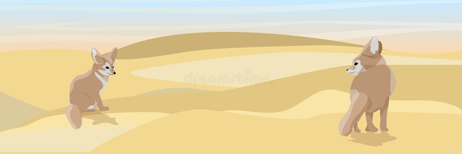 Two deserted fox fennec on the sand. Wildlife of North Africa. Desert with dunes from yellow sand. Landscapes of Africa and Australia. Sahara Realistic Vector stock illustration