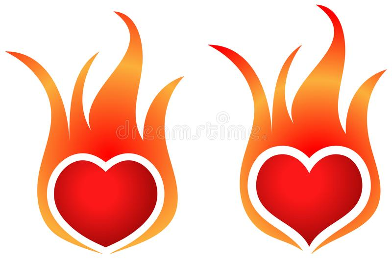 Fire flame heart shape logos vector illustration