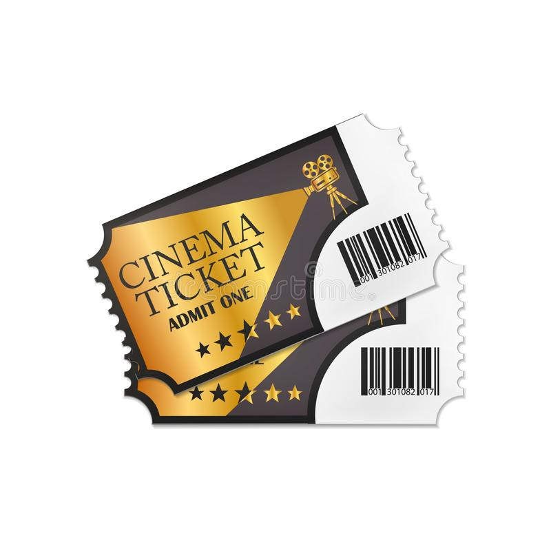 Two designed retro cinema tickets close up top view isolated on white background. Vector illustration. Eps 10 stock illustration