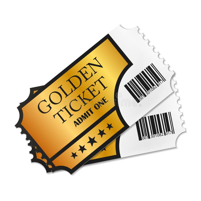Two designed retro Golden Tickets close up top view isolated on white background. Vector illustration. Eps 10 stock illustration
