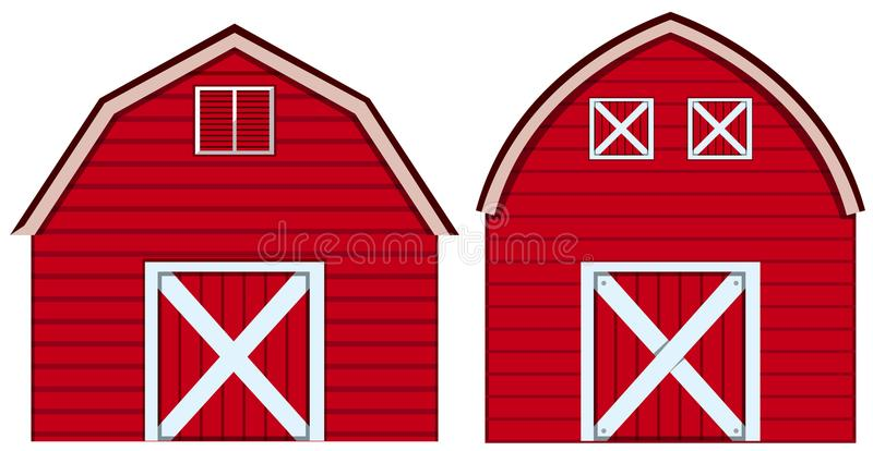Two designs of barn in red colors royalty free illustration