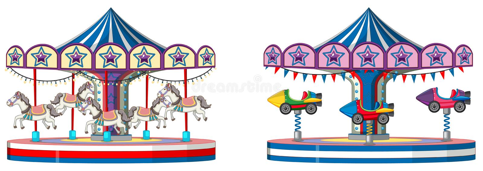 Two designs of merry go round on white background stock illustration