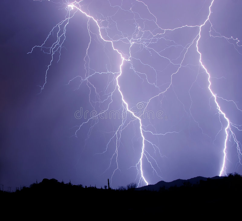 Two Detailed Lightning Strikes stock image