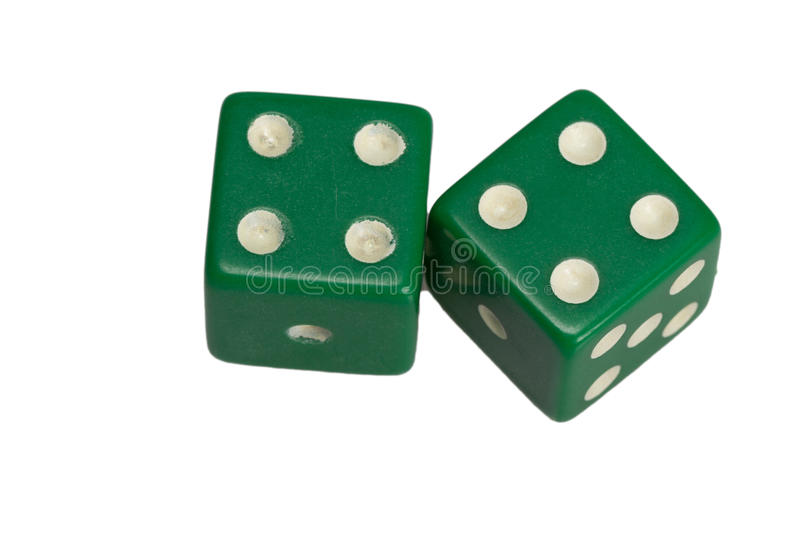 Two dice showing two four royalty free stock image