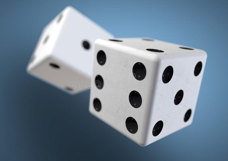 Two die (dice) captured rolling in mid air. Throwing dice in casino, board game royalty free stock images