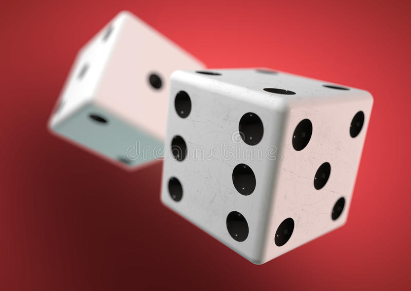 Two die (dice) captured rolling in mid air. Throwing dice in casino, board game. Two die (dice) captured rolling in mid air while being thrown in casino, board royalty free stock photos
