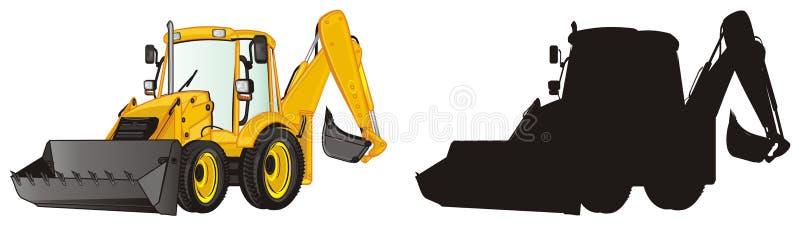 Two different excavators. Yellow and solid black excavators vector illustration