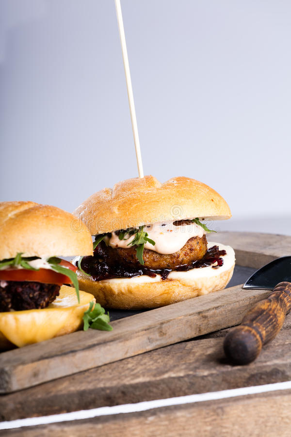 Two different fresh tasty burgers royalty free stock photography