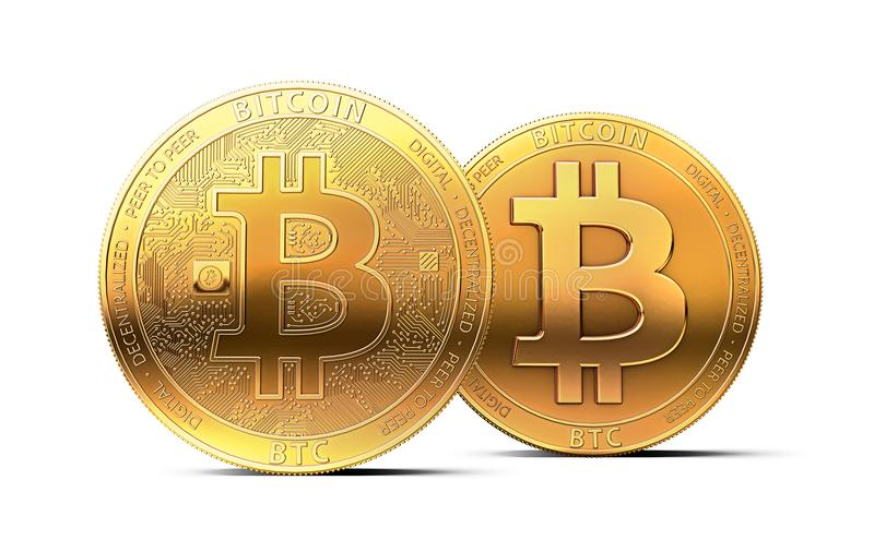 Two different golden bitcoins as possible split of bitcoin cryptocurrency into two currencies isolated on white background. Two different golden bitcoins as stock illustration