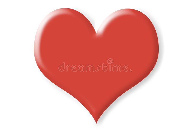 Two dimension red heart. With shade isolated on white stock illustration