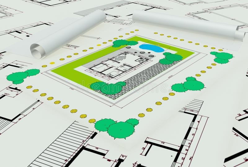 Download Two Dimentional Colored House Plan Stock Illustration - Image: 16806914