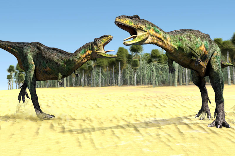 Two dinosaurs. Scene two dinosaurs Executed in 3D royalty free illustration