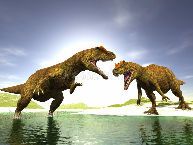Download Two dinosaurs stock illustration. Illustration of aggression - 3942990