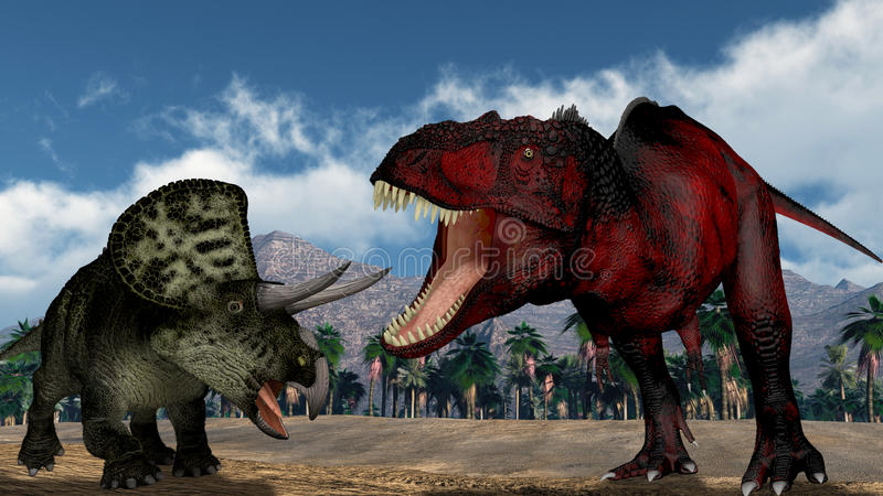 Two dinosaurs. Scene two dinosaurs Executed in 3D stock illustration
