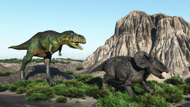 Two dinosaurs. Scene two dinosaurs Executed in 3D vector illustration