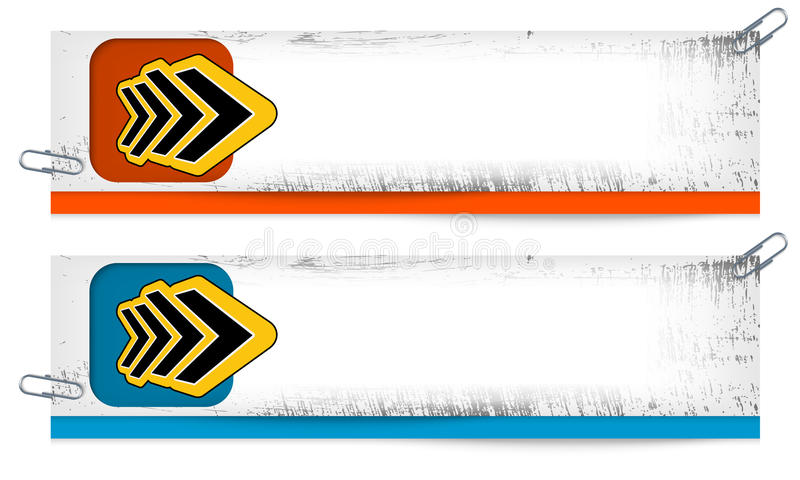 Two dirty banners with abstract arrow stock illustration