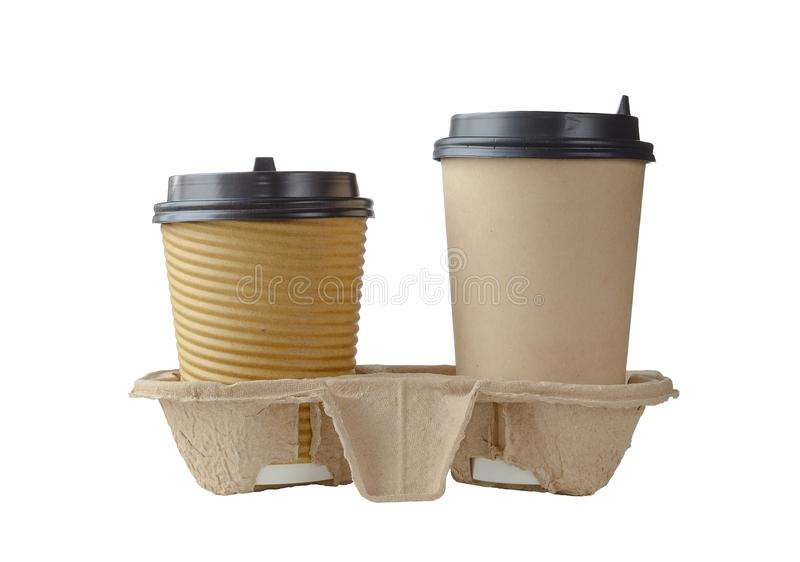 Two disposable coffee cups in cardboard holder isolated stock photos