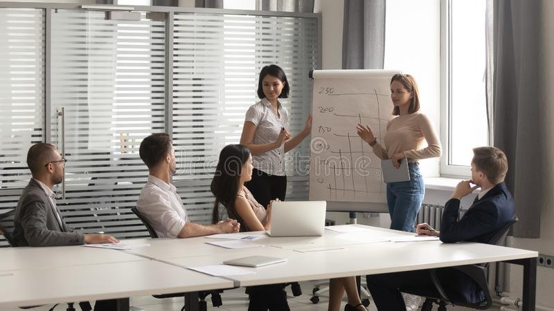 Two diverse female coaches give flip chart presentation at training stock photos