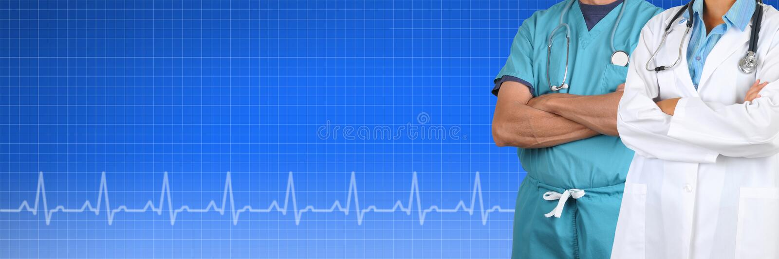 Two Doctor Medical Banner. Tow Doctors, male and female, over a Health Care background with EKG graph. Suitable for medical web sites with room for your copy stock photo