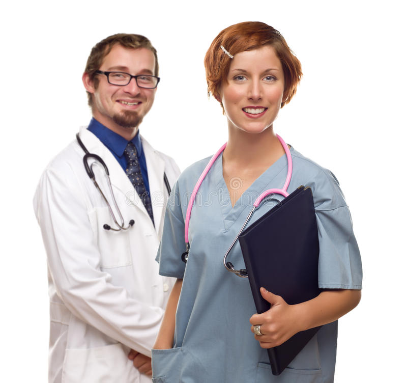 Download Two Doctors Or Nurses On A White Background Stock Image - Image: 21284595