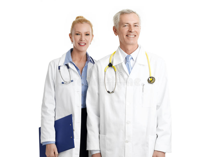 Two doctors with stethoscope royalty free stock image