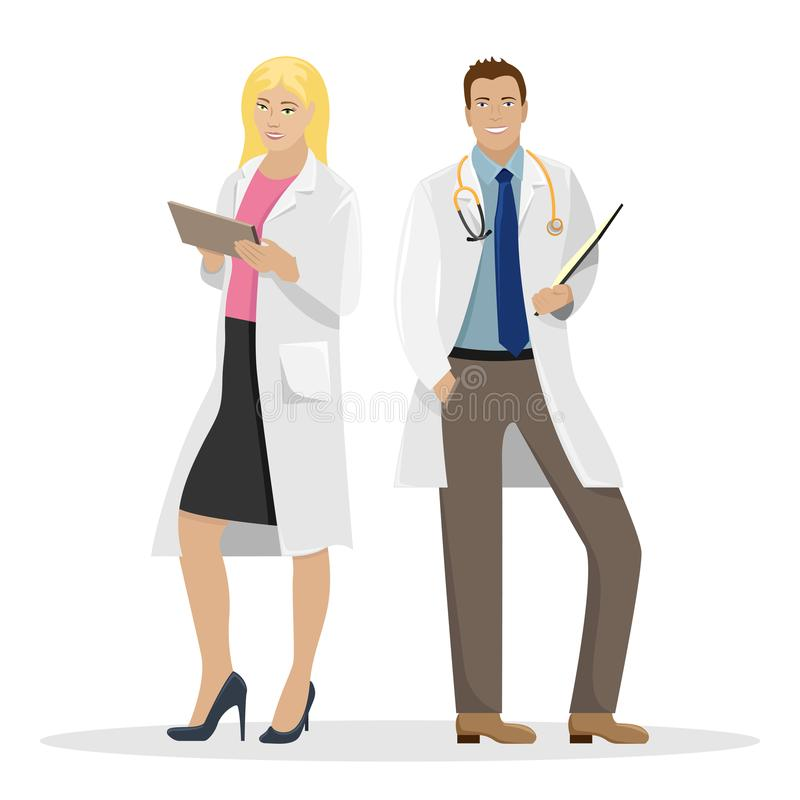 Two doctors in white coats. Medical vector illustration.  stock illustration