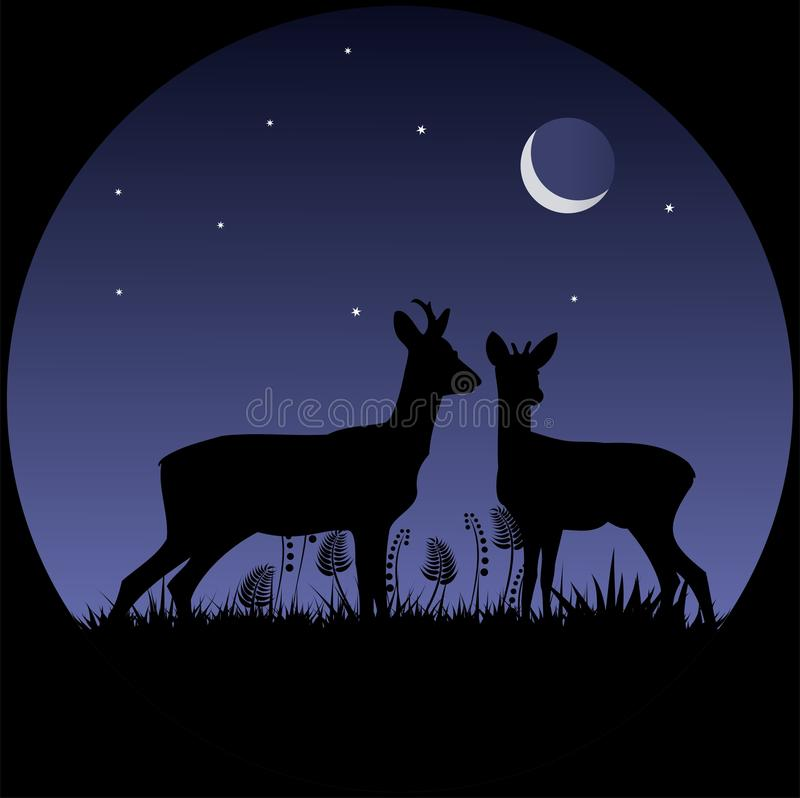 Two does silhouettes in moonlight royalty free stock image