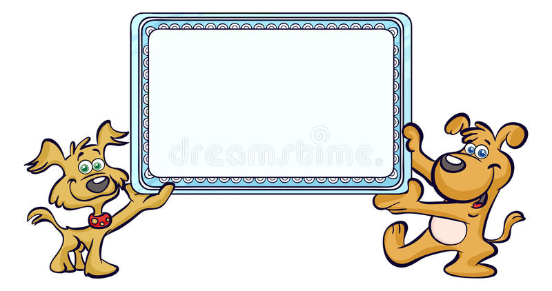 Two dogs holding a sign or frame royalty free illustration