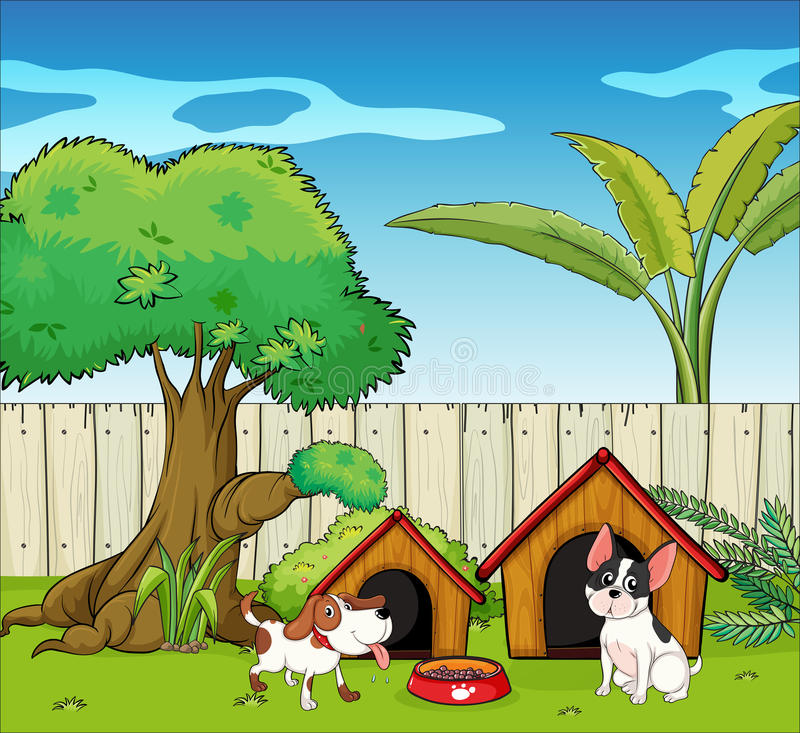 Two dogs inside the fence. Illustration of two dogs inside the fence vector illustration