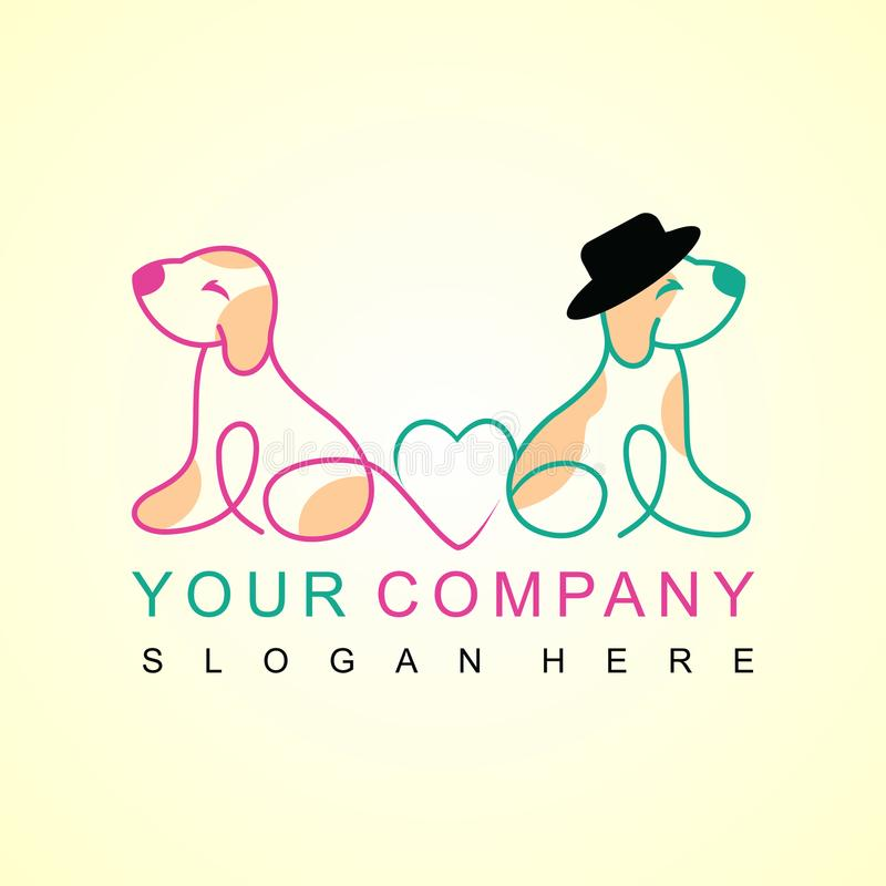 Two dogs in love logo design royalty free illustration