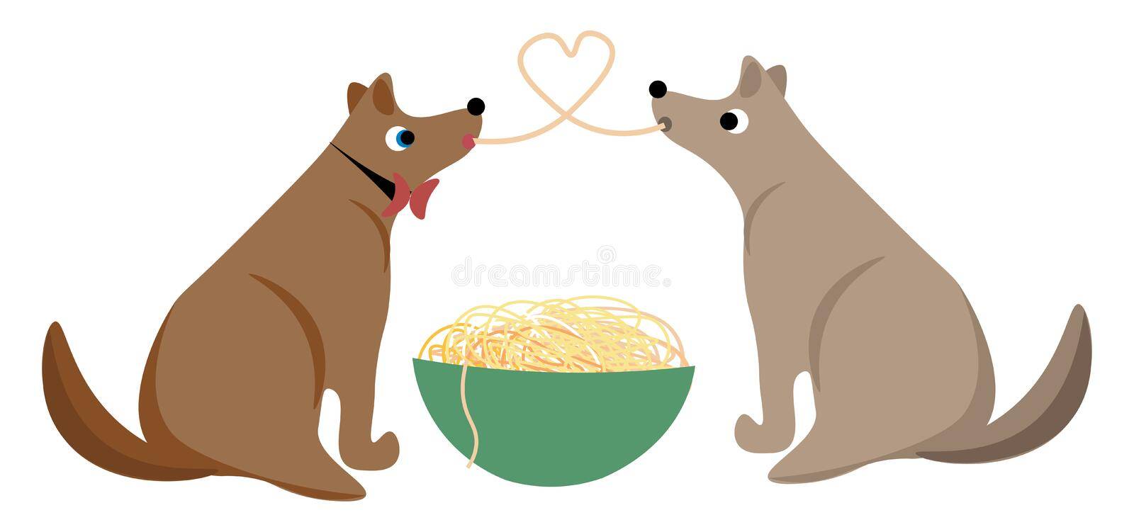Two dogs sharing spaghetti as they eat from the same giant bowl vector or color illustration stock illustration