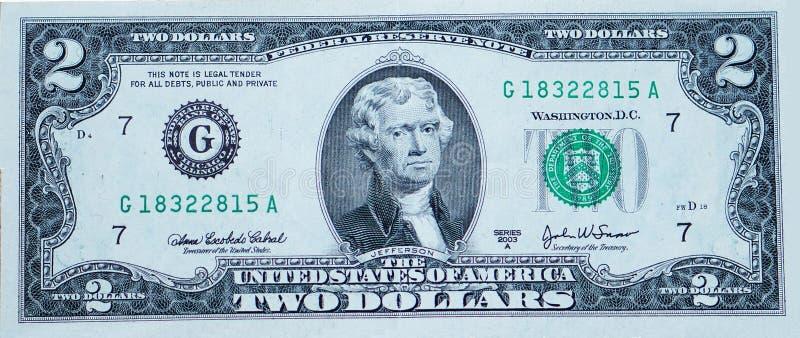 Two-dollar bill royalty free stock photos