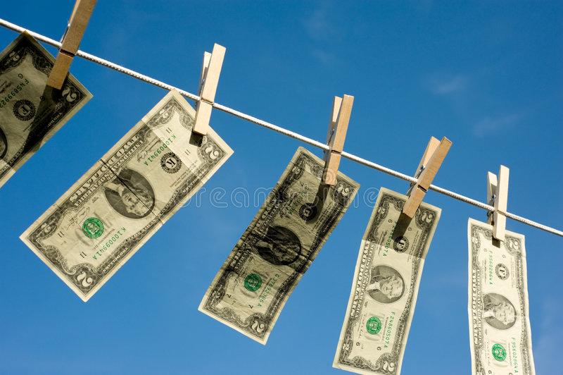 Two Dollar Bills on Clothesline