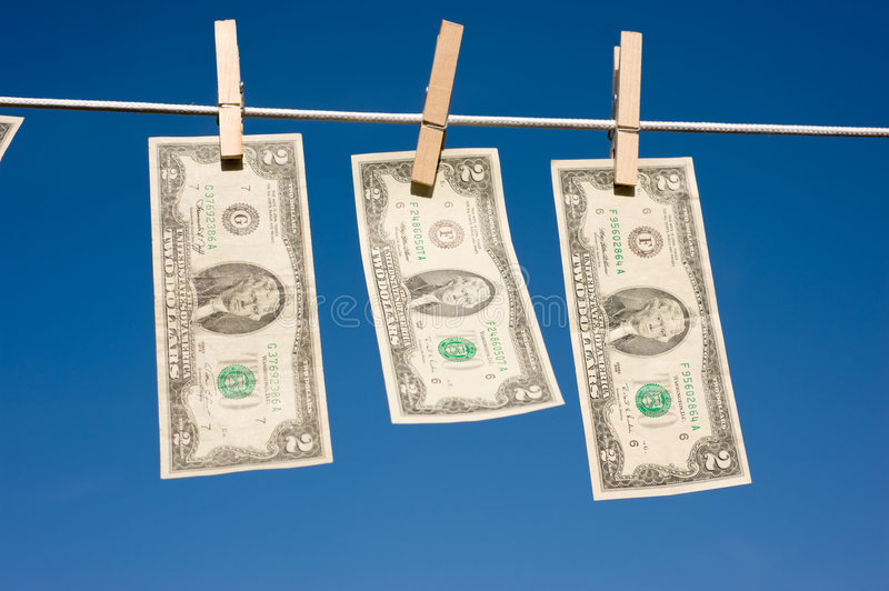 Two Dollar Bills On Clothesline Royalty Free Stock Photography