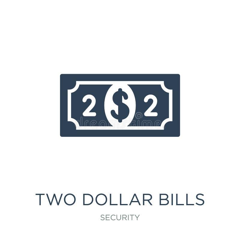 two dollar bills icon in trendy design style. two dollar bills icon isolated on white background. two dollar bills vector icon royalty free illustration