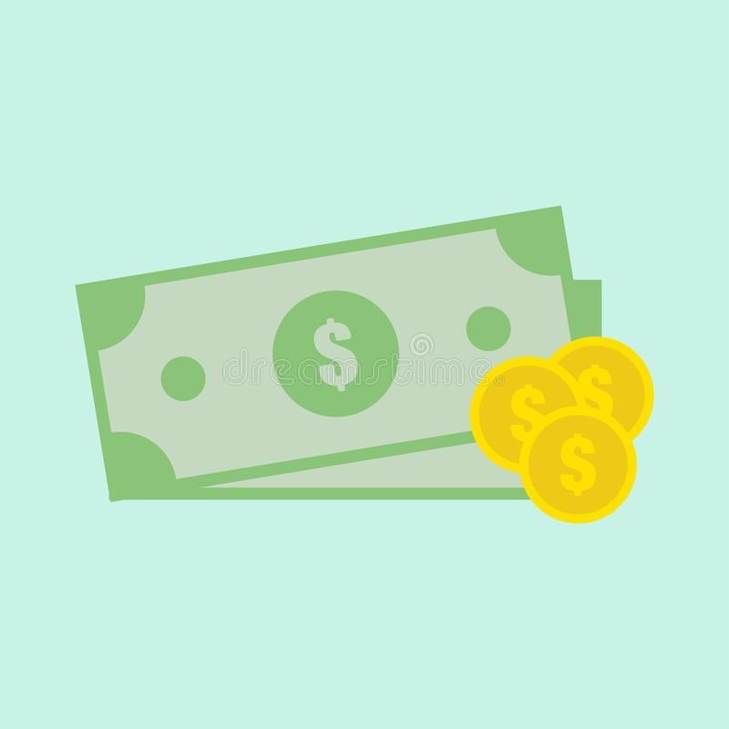 Two dollar with gold monets. Green money. Gold money. Symbol of payment. Finance sign. Salary. Flat design. EPS 10 stock illustration
