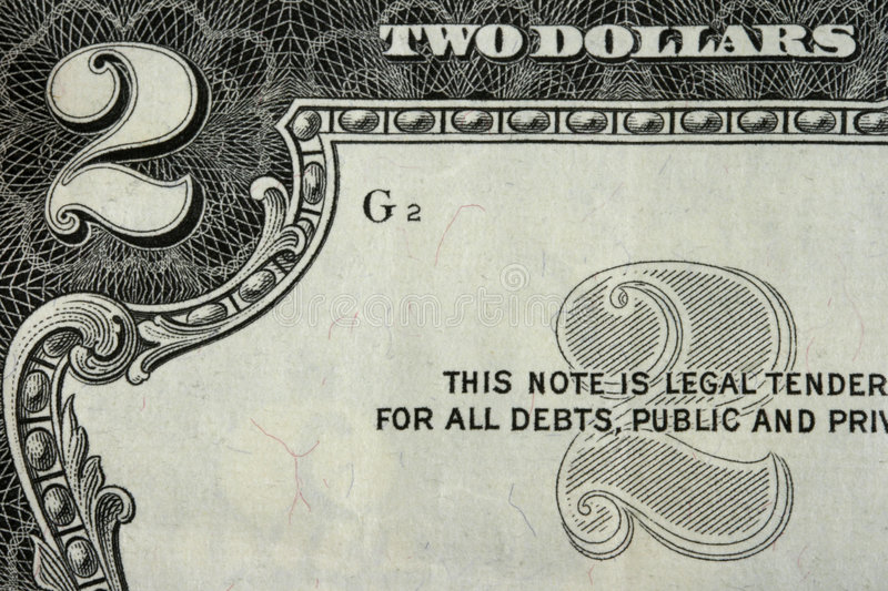 Two dollars stock photo