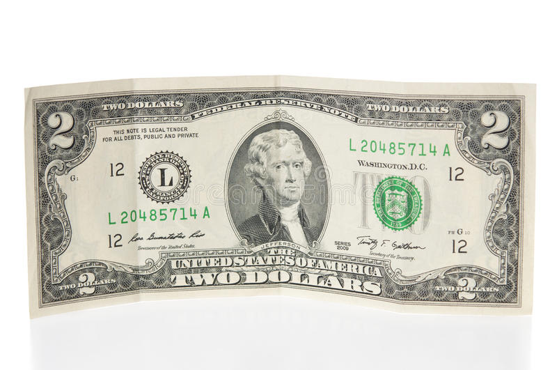 Two dollars bill stock photography