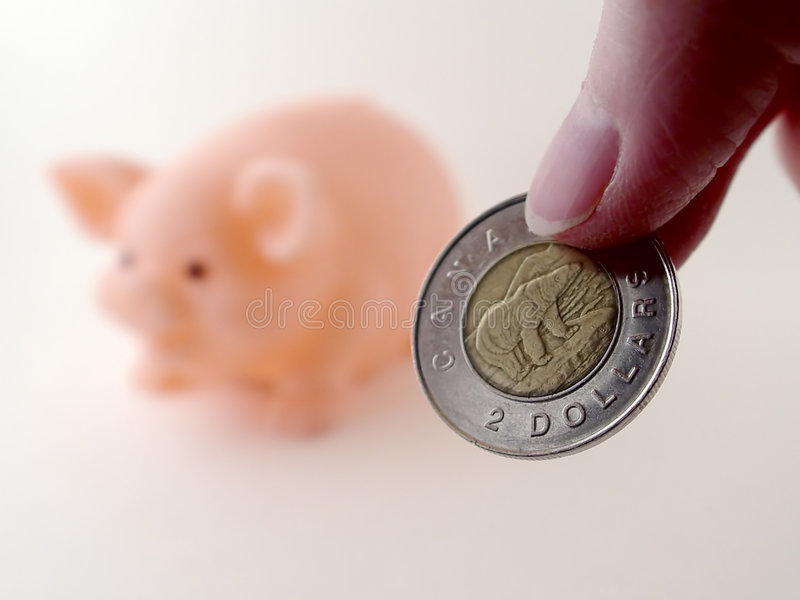 Two Dollars and a Piggy Bank. Person holding two dollars to put in piggy bank stock photos
