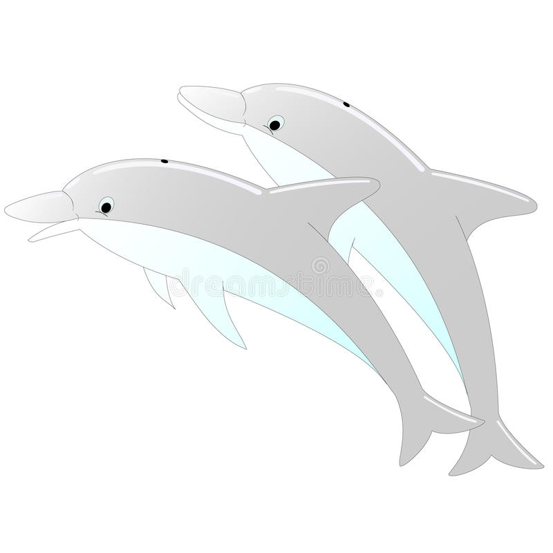 Two dolphins stock illustration