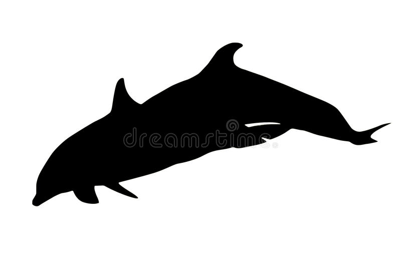 Two dolphins silhouette vector illustration